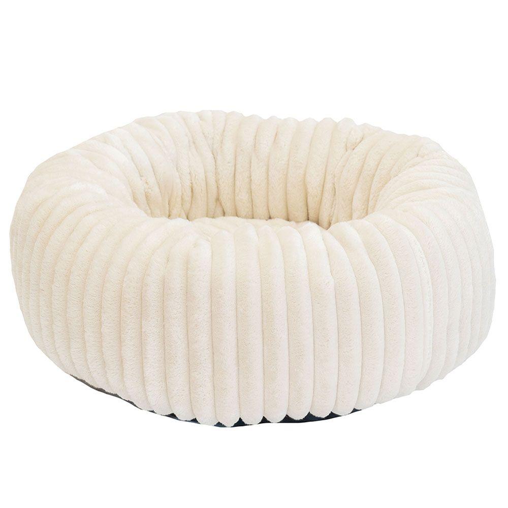 Лежак для животных Foxie Leather 53х53х20см круглый белый недорого