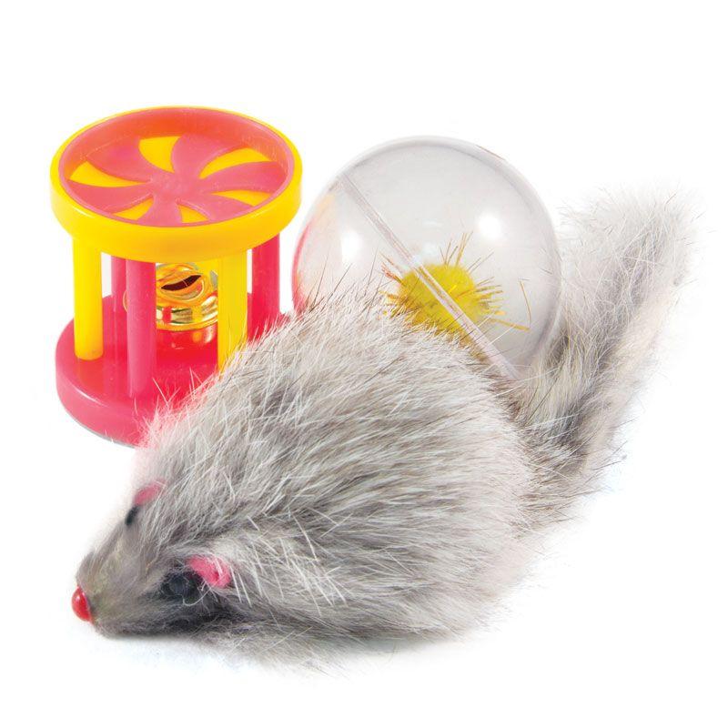 Игрушка для кошек TRIOL Набо мяч, мышь, барабан d45мм; 55мм; 40мм
