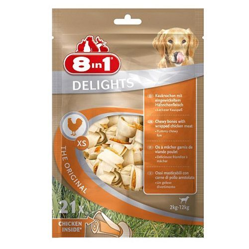 цена на Лакомство для собак 8 in 1 DELIGHTS XS Косточки для мелких пород 7,5см (21шт.уп)