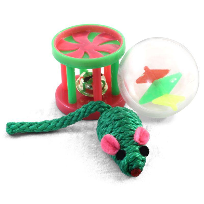 Игрушка для кошек TRIOL Набор мяч, мышь, барабан d45мм; 50мм; 45мм