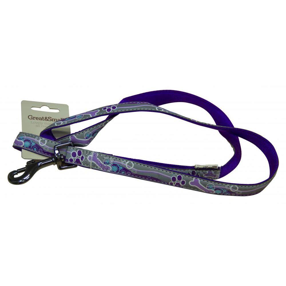 Поводок для собак Great&Small светоотражающий 20х1200мм нейлон фиолетовый поводок для собак great
