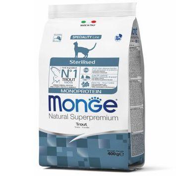 Корм для кошек Monge Cat Monoprotein Sterilised для стерилизованных, форель сух. 400г цена и фото