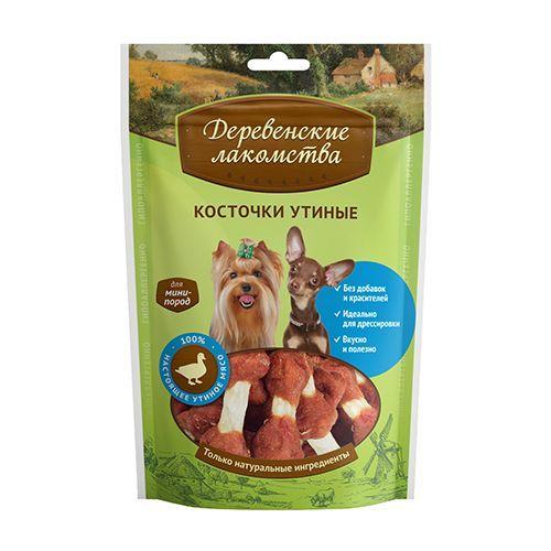 Лакомство для собак ДЕРЕВЕНСКИЕ ЛАКОМСТВА мини пор.косточки утиные 60г лакомство для собак деревенские лакомства зубочистки мятные для мелких пород 60г