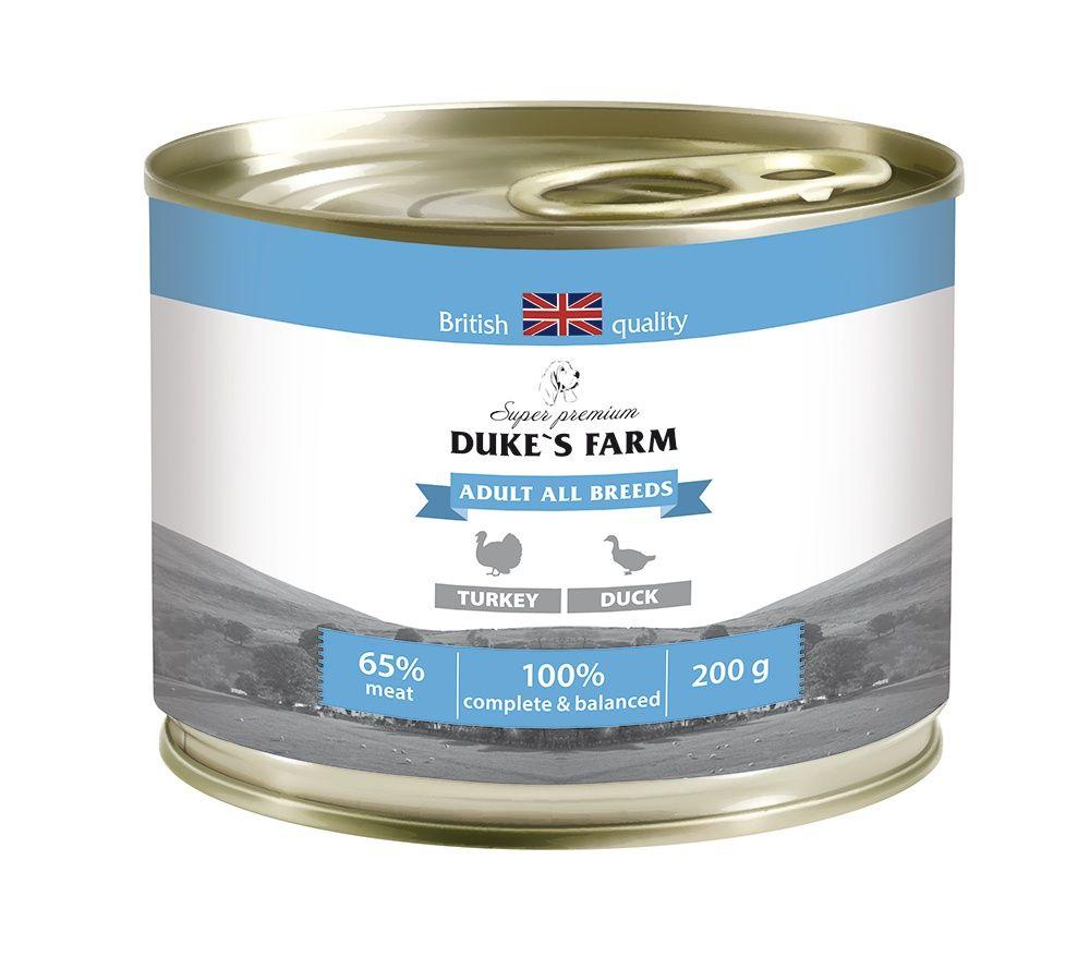 Корм для собак DUKE'S FARM индейка, утка конс. 200г