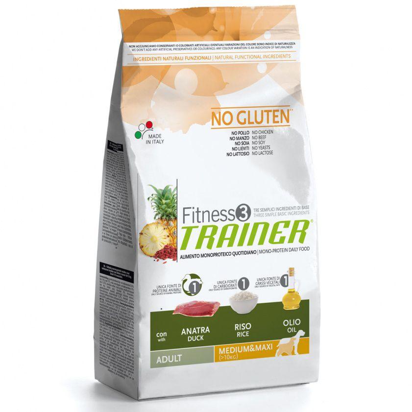 Корм для собак TRAINER Fitness3 для средних и крупных пород утка, рис сух. 3кг корм для щенков и молодых собак bosch для крупных пород сух 3кг