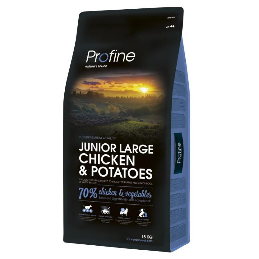 Корм для щенков PROFINE для крупных пород, курица, картофель сух. 15кг корм для щенков и молодых собак bosch для крупных пород сух 15кг