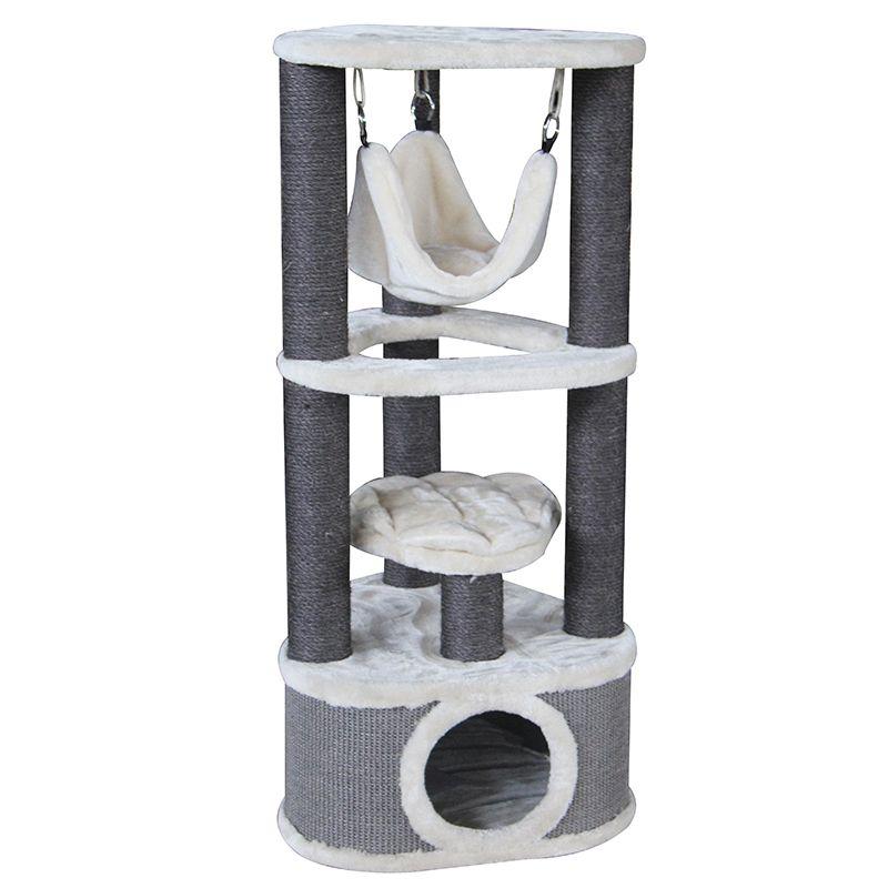 Дом-когтеточка для кошек Foxie трехуровневый угловой с гамаком и домиком 50x50x120cv серо-белый (MAJ