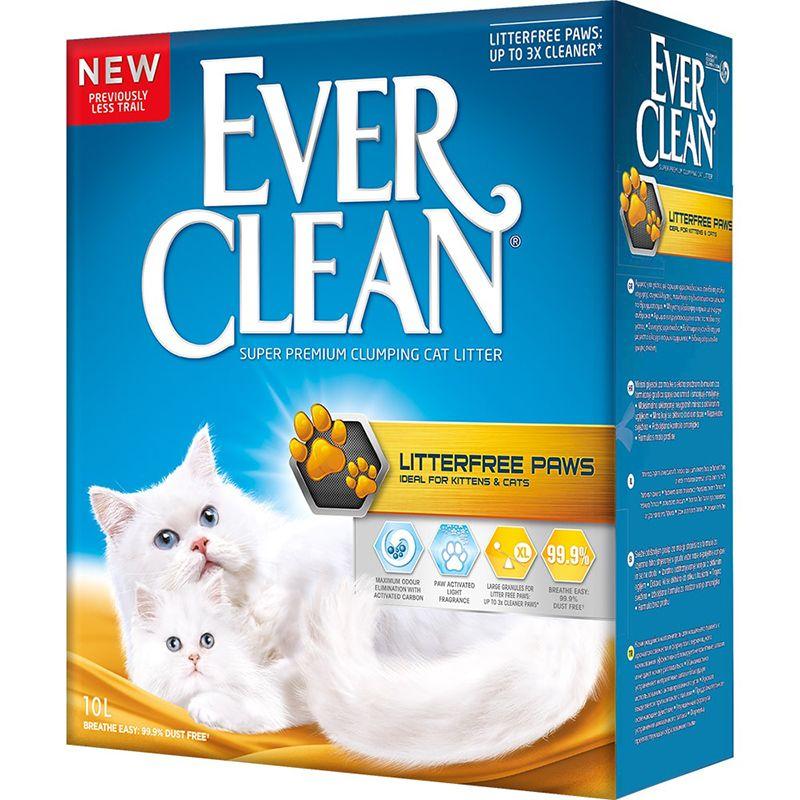 Наполнитель для кошачьего туалета EVER CLEAN Litter free Paws комкующийся д/идеально чистых лап 10 литров наполнитель для кошачьего туалета ever clean aqua breeze комкующийся аромат морской бриз 10л