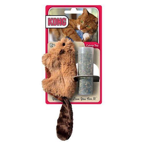 Игрушка для кошек KONG Бобер, плюш и кошачья мята