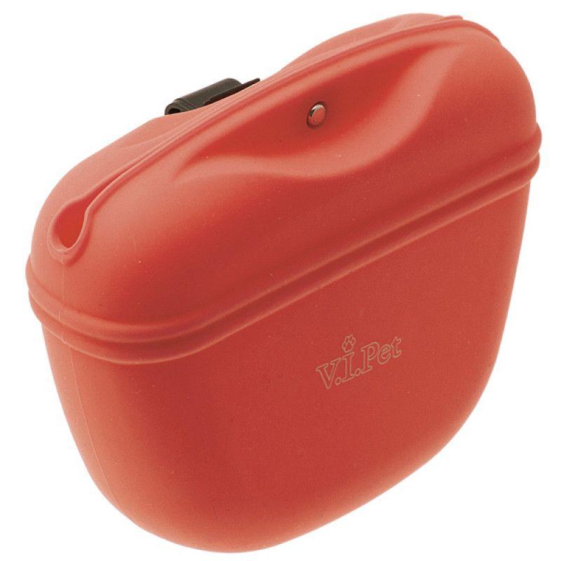 Сумочка для лакомств V.I.PET силиконовая с магнитным замком (красная)