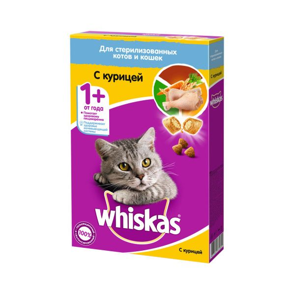 Корм для кошек Whiskas для стерилизованных кошек, курица