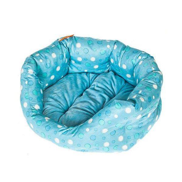 Лежак для собак Геометрия HAPPY PUPPY Горошек голубой-1 40х35х15см лежак для собак happy puppy узоры 3 57х44х15см