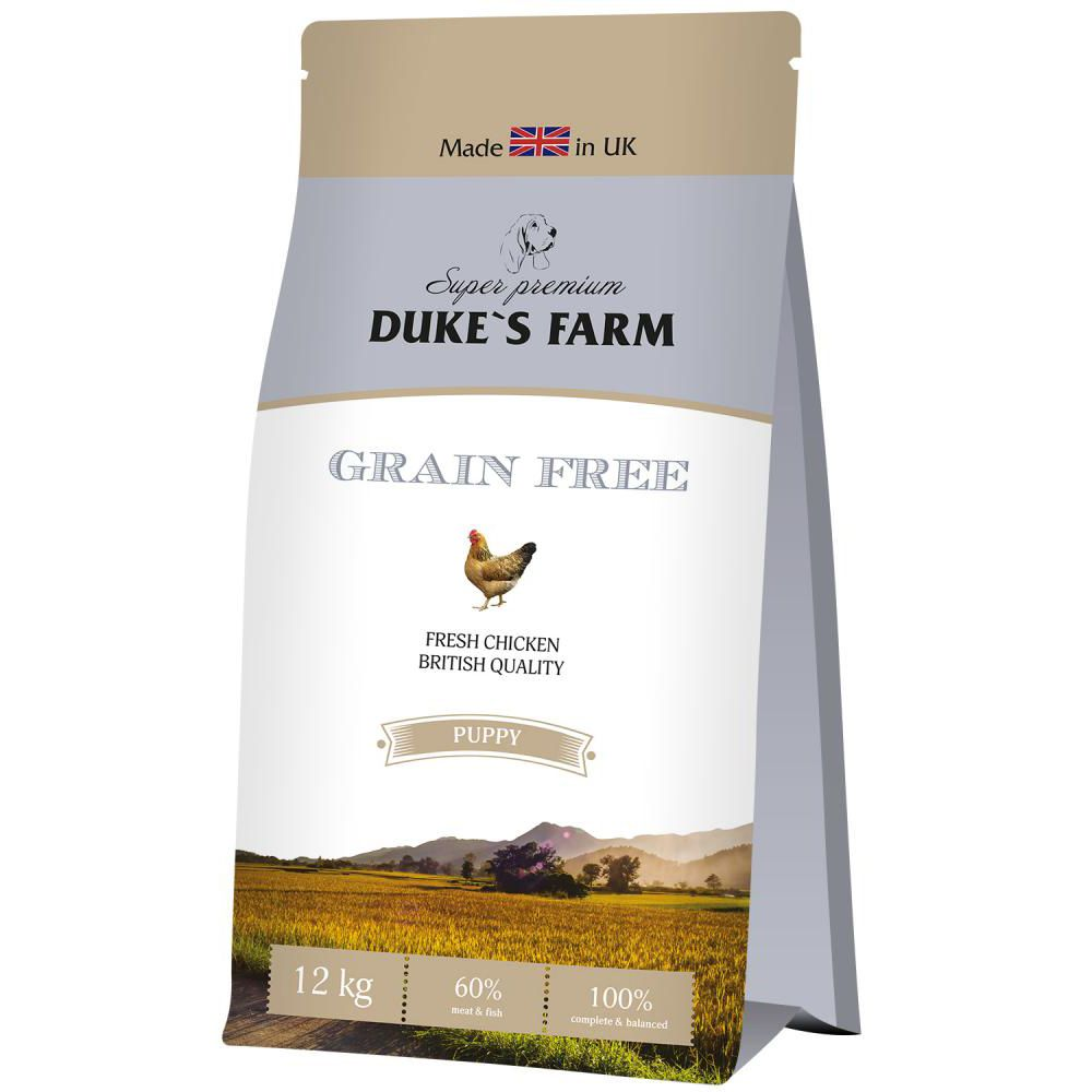 цена на Корм для щенков DUKE'S FARM беззерновой, курица сух. 12кг