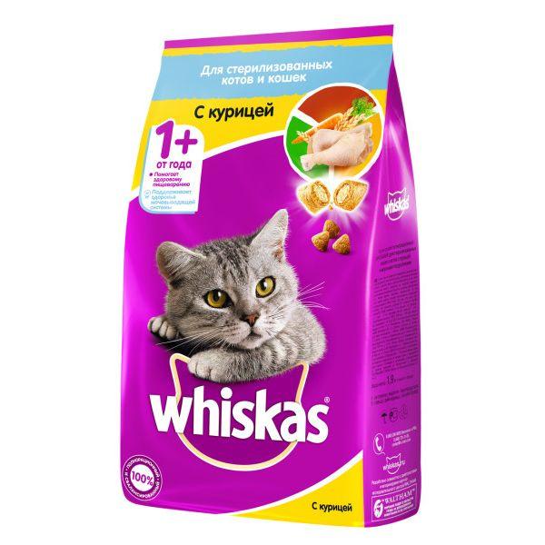 Корм для кошек Whiskas для стерилизованных кошек, курица сух. 1,9кг