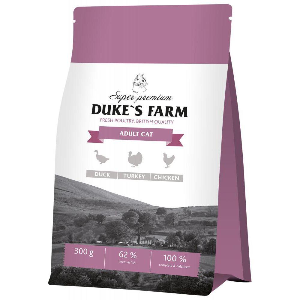 Корм для кошек DUKE'S FARM утка, курица, индейка сух. 300г корм для кошек cat chow для взрослых индейка курица сух 15кг