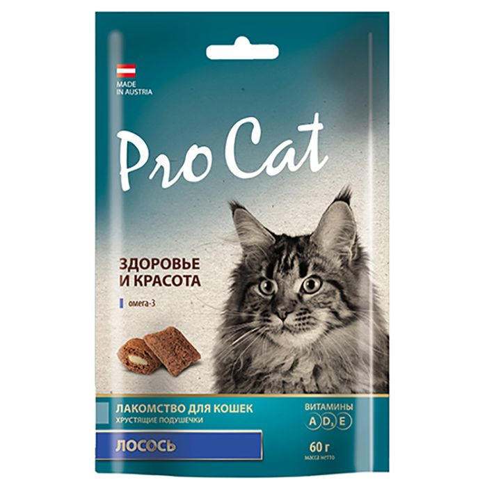 Лакомство для кошек Pro Cat Подушечки Здоровье и красота с Лососем 60г красота и здоровье