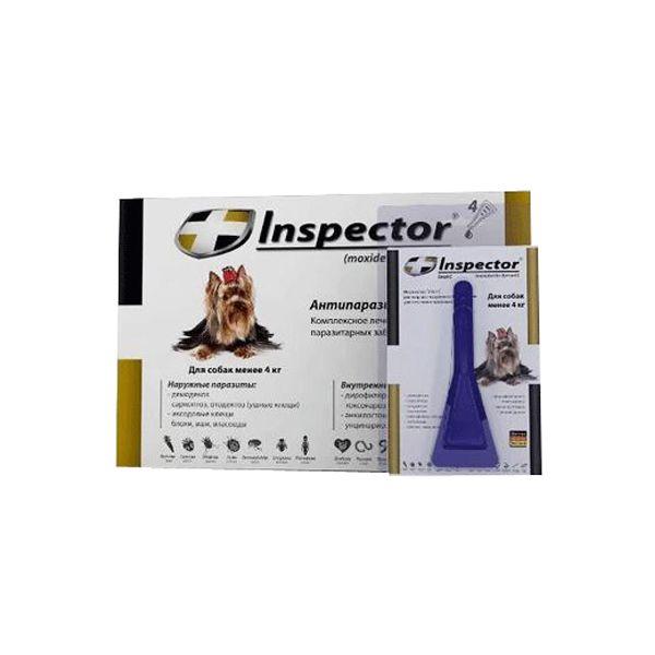 Капли для собак INSPECTOR до 4кг от внешних и внутренних паразитов 1 пипетка