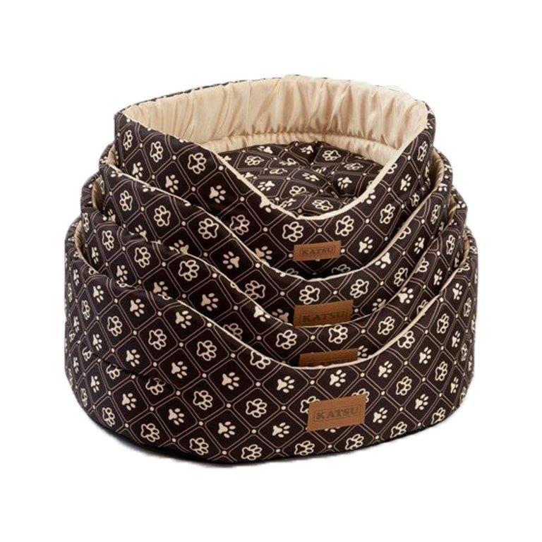цена на Лежак для собак KATSU Yohanka shine Dog Paws бежево-коричневый, размер 2 46х32х18см