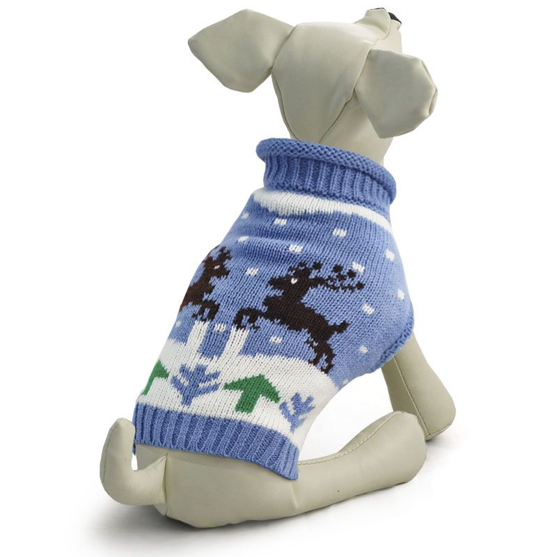 Свитер для собак TRIOL Олени S, голубой, размер 25см