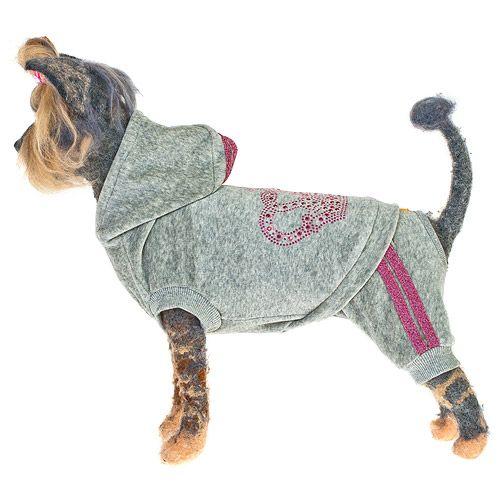 Комбинезон для собак HAPPY PUPPY Гламур велюровый серый-3 28см