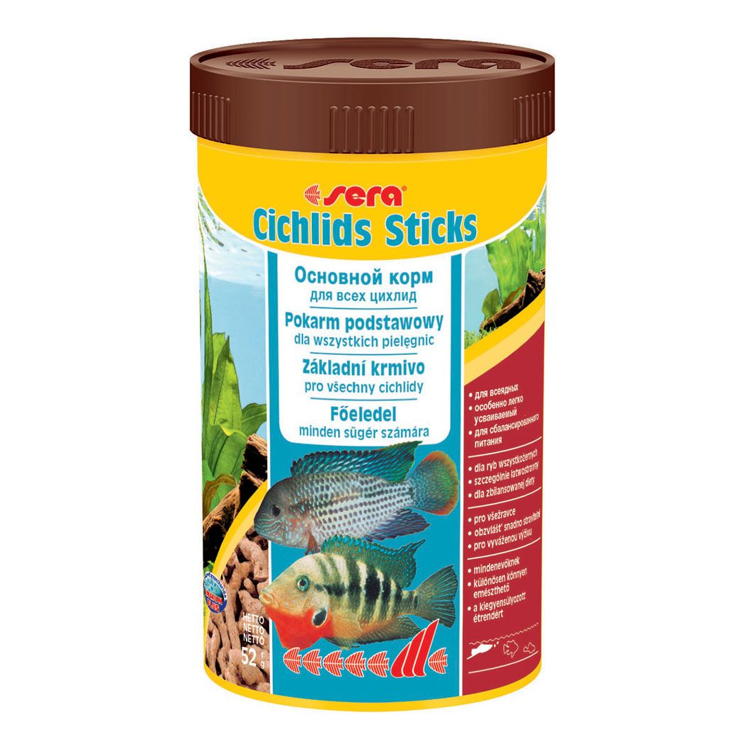 Корм для рыб SERA Cichlids Sticks цихлид, в палочках 250мл (52г)