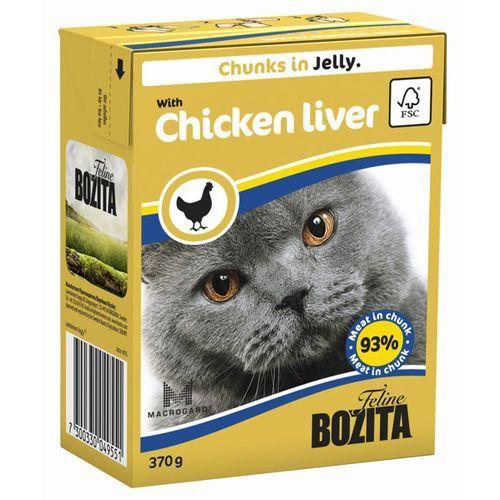 Корм для кошек BOZITA Кусочки в желе с куриной печенью конс. 370г корм для кошек mjau мясные кусочки в желе с куриной печенью конс 380г