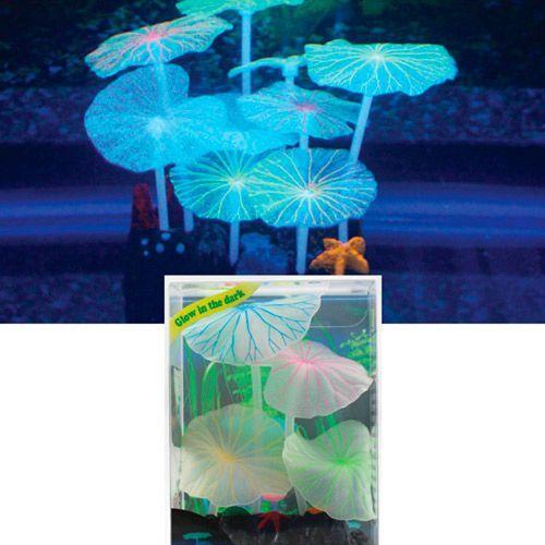 Декор для аквариумов JELLYFISH Листья лотоса зеленые силиконовые (9шт) 9х7х11см