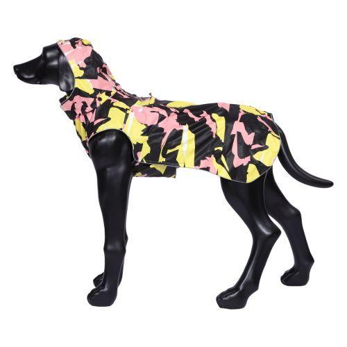 Дождевик для собак RUKKA 65см Камуфляж Коралл/жёлтый