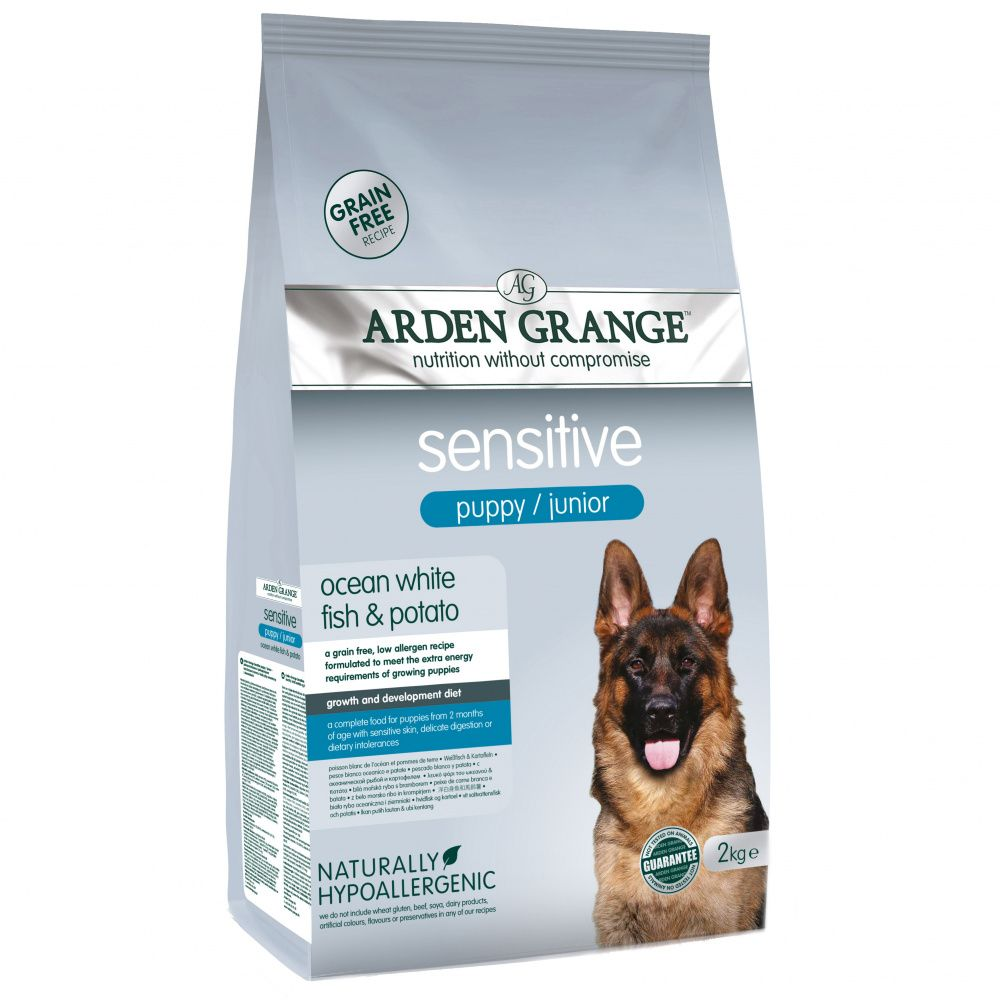Корм для щенков и молодых собак ARDEN GRANGE с деликатным желудком и/или чувствит. кожей сух. 2кг grange