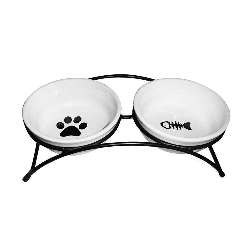 Миска для животных MAJOR двойная на металлической подставке, керамика, 2х300мл артмиска миска для животных artmiska щенок и миска двойная на подставке черная 2 шт x 350 мл