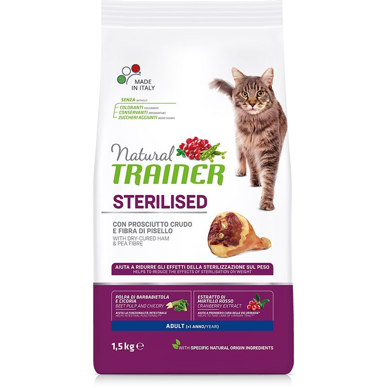 цена Корм для кошек TRAINER Natural Adult Sterilised для кастрированных, сыровяленая ветчина сух. 1,5кг онлайн в 2017 году