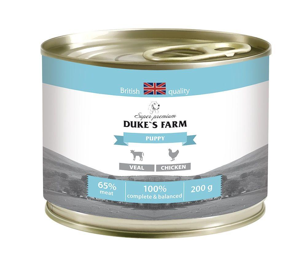 Корм для щенков DUKE'S FARM телятина, курица конс. 200г