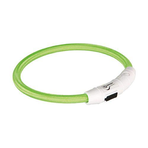 Ошейник светящийся для собак TRIXIE Мигающее кольцо USB XS–S: 35см нейлон зеленый USB