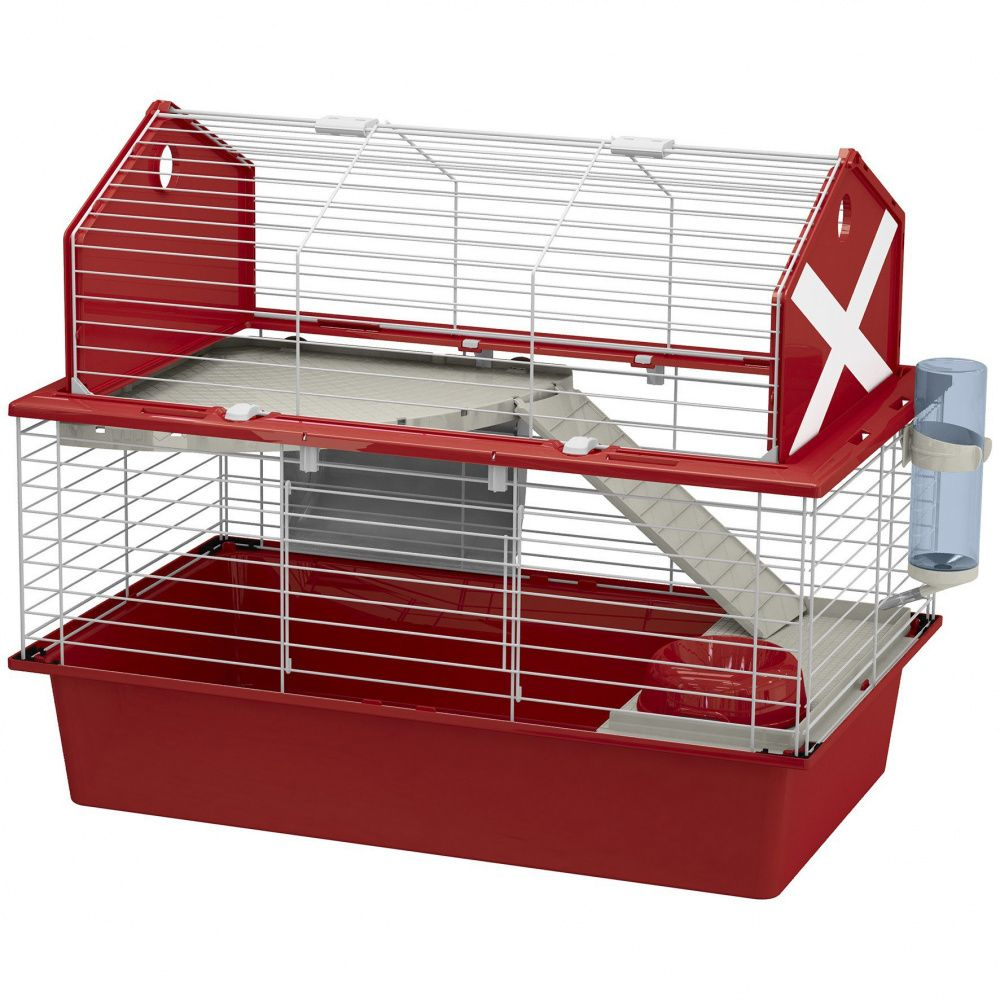 Клетка для кроликов FERPLAST Barn 80 красная 78х48х65см