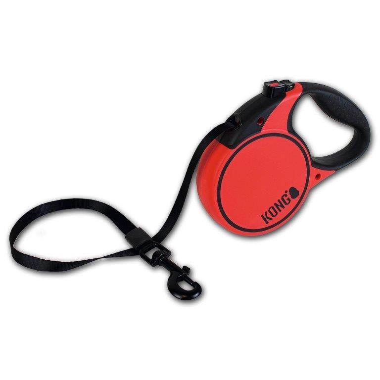Рулетка для собак KONG Terrain M (до 30кг) лента 5м красная
