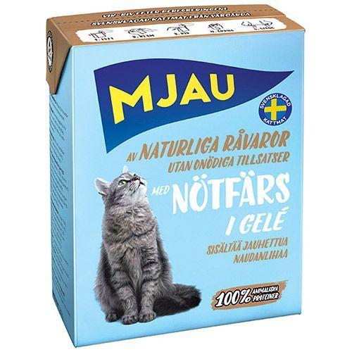 Корм для кошек MJAU мясные кусочки в желе с рубленой говядиной конс. корм для кошек mjau мясные кусочки в желе с куриной печенью конс 380г
