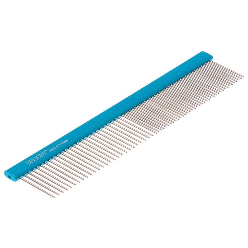 Расчёска DeLIGHT алюм. 19,5 см с плоской синей ручкой, зуб 2,8 см, 50/50 316650-6 фото