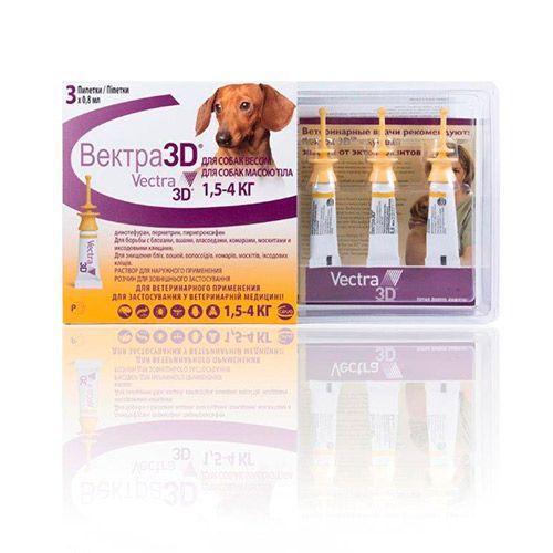 Капли для собак CEVA Вектра 3D 1,5-4 килограмма инсектоакарицидные 0,8мл, 3 пипетки