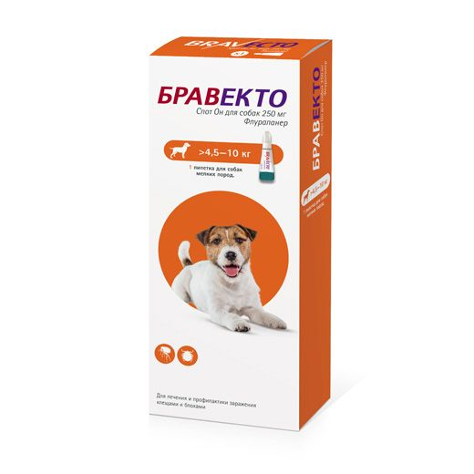 Капли INTERVET Бравекто Spot On для собак 4,5-10 кг, 250мг цены онлайн