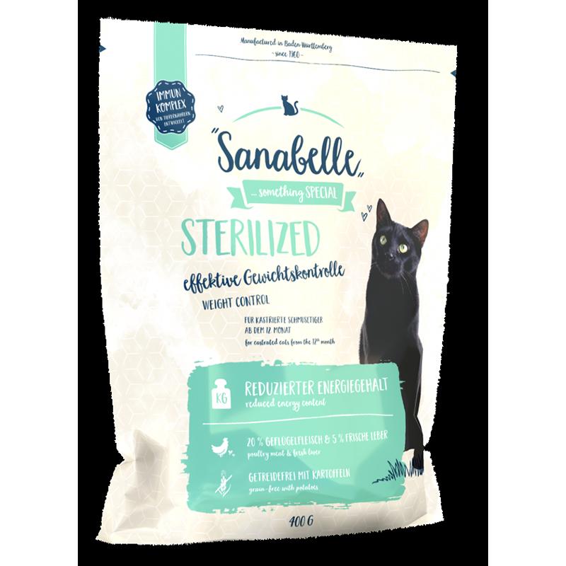 Корм для кошек SANABELLE Sterilized для кастрированных и стерилизованных кошек, птица сух. 400г