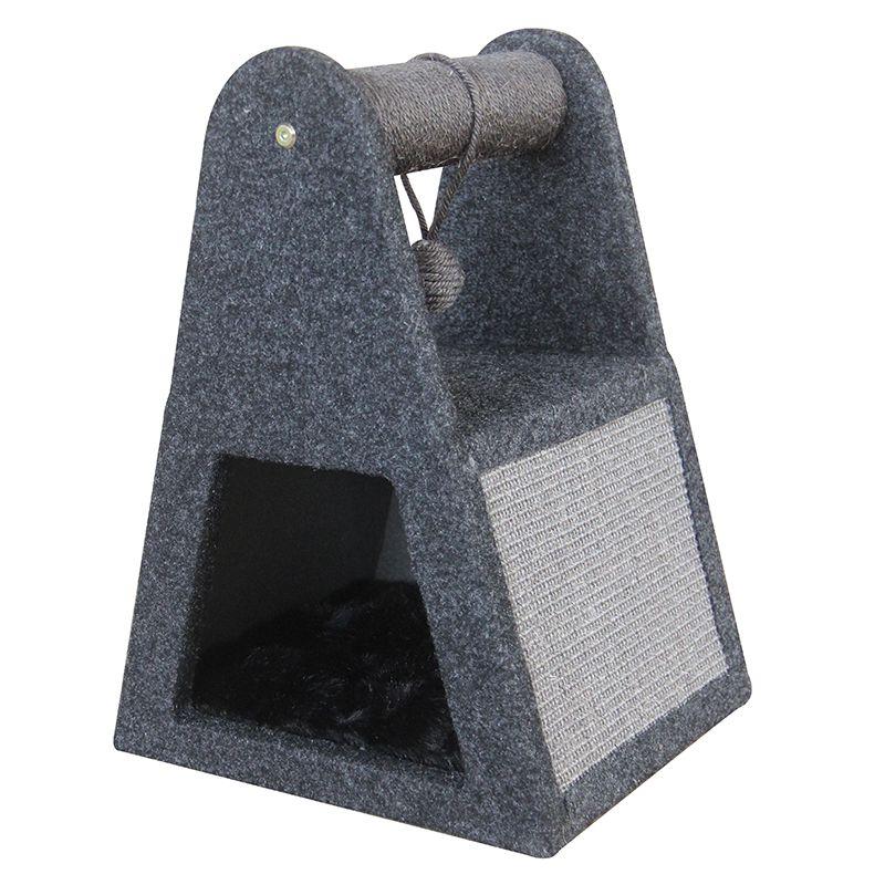 Дом-когтеточка для кошек Foxie с игрушкой сизаль 35x30x46см серый