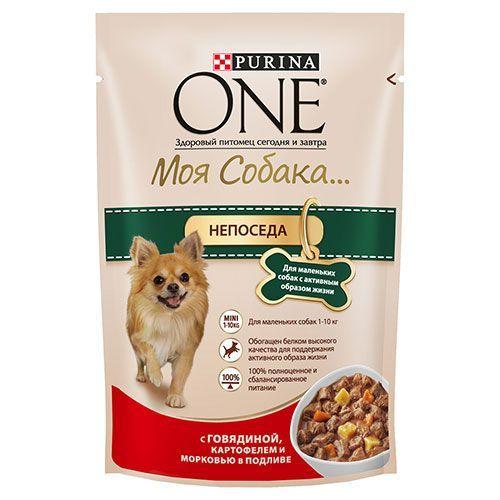 Корм для собак PURINA ONE Моя Собака говядина, картофель, морковь, конс. пауч 100г цена