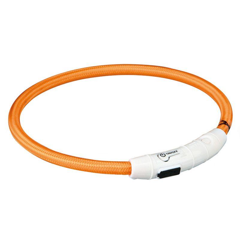 Ошейник светящийся для собак TRIXIE Мигающее кольцо USB XS–S: 35см 7мм нейлон оранжевый USB