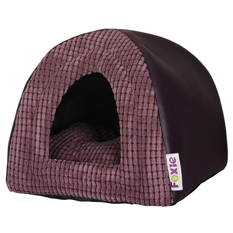 Домик для животных Foxie Leather 40х40х40см фиолетовый домик для собак геометрия happy puppy горошек бежевый 40х40х40см