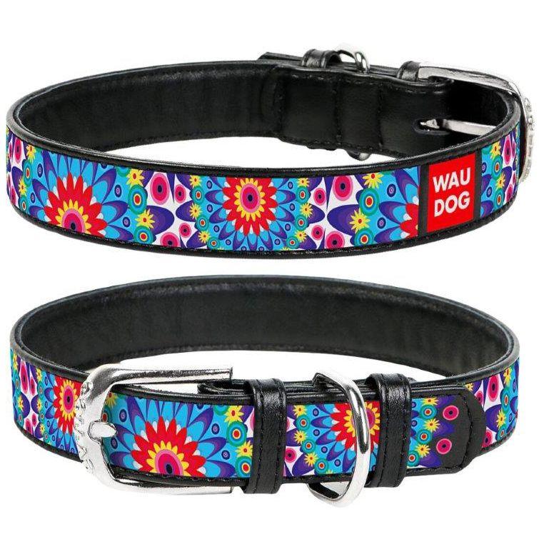 Фото - Ошейник для собак COLLAR Waudog с рисунком Цветы, ширина 15мм, длина 27-36см черный ошейник для собак collar brilliance без украшений ширина 15мм длина 27 36см синий