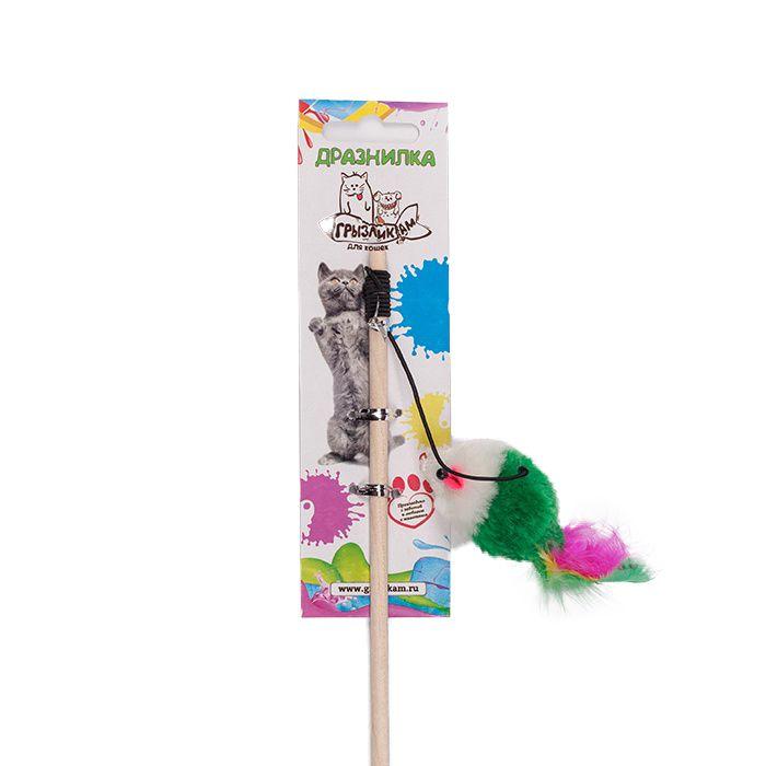 Игрушка для кошек ГРЫЗЛИК АМ Дразнилка-удочка Мышка мех с перьями, дерево 5х2.5х50см