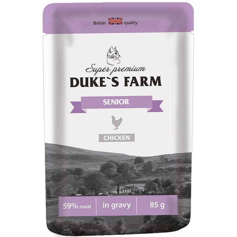 Корм для кошек DUKE'S FARM для пожилых кошек, курица конс. пауч 85г