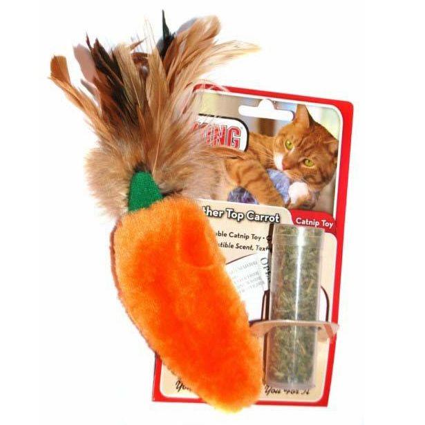Игрушка для кошек KONG Морковь плюш с тубом кошачьей мяты 15см