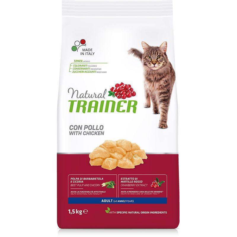 Корм для кошек TRAINER Natural на основе свежего мяса курицы сух. 1,5кг три курицы на плющихе