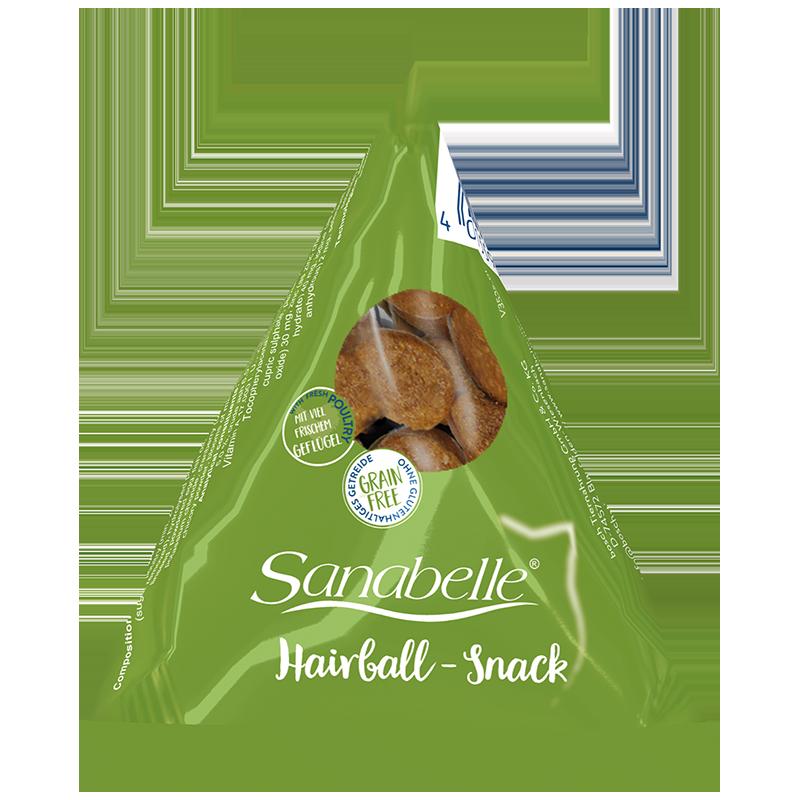 Фото - Лакомство для кошек SANABELLE Hairball Snack против формирования комочков шерсти 20г sanabelle sanabelle snack полувлажное лакомство для кошек для улучшения пищеварения с сайдой и инжиром 55 г
